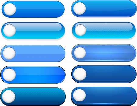 blue buttons: Set of blank blue buttons for website or app.   Illustration
