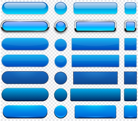 blue buttons: Set of blank blue buttons for website or app  Illustration