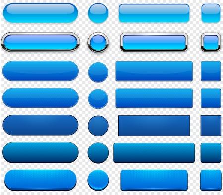 blue metallic background: Set of blank blue buttons for website or app  Illustration