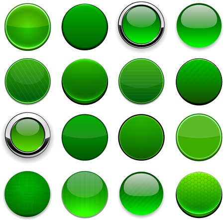 icon 3d: Set of blank round green buttons for website or app