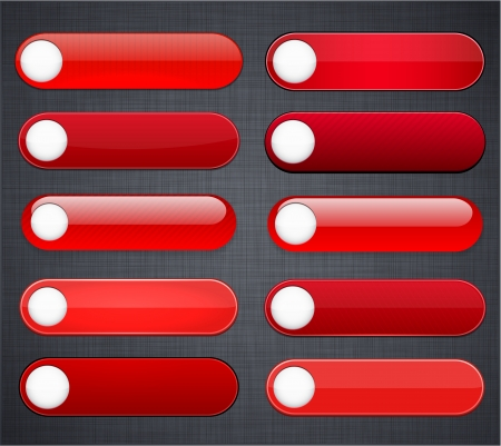 Set of blank red buttons for website or app Stock Vector - 15121969