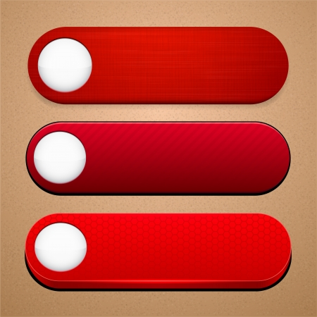 button glossy: Set of blank red buttons for website or app