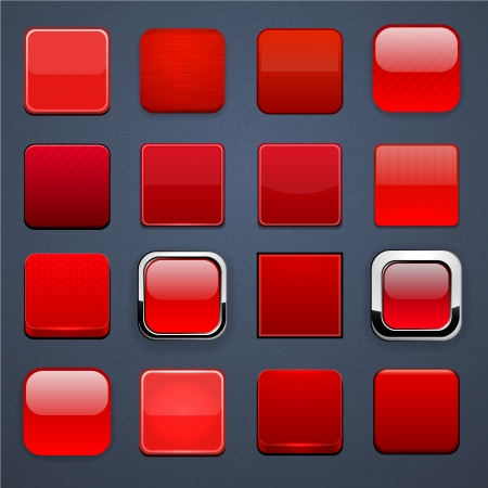 Set of blank red square buttons for website or app   Vector