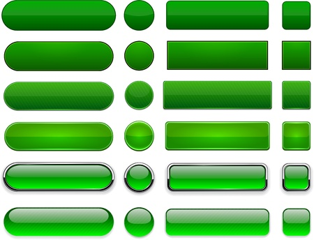 Buttons: Set of blank green buttons for website or app