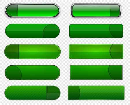 Set of blank green buttons for website or app Stock Vector - 15121953