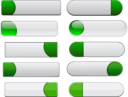 rectangular: Set of blank white and green buttons for website or app