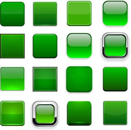 cuadrados: Conjunto de botones cuadrados en blanco verdes para el sitio web o aplicaci�n