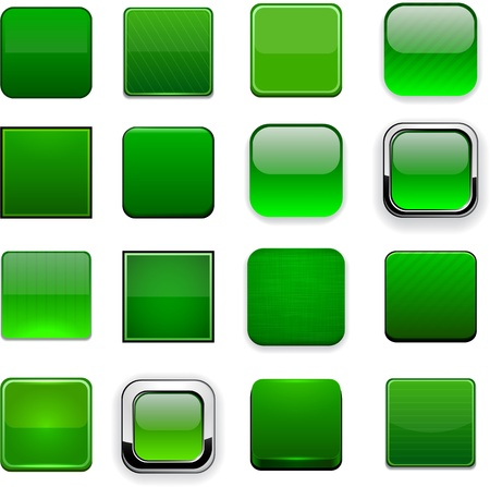 Set of blank square green buttons for website or app