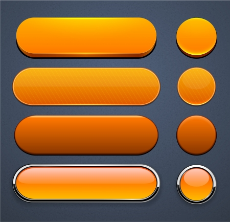 metallic button: Set of blank orange buttons for website or app