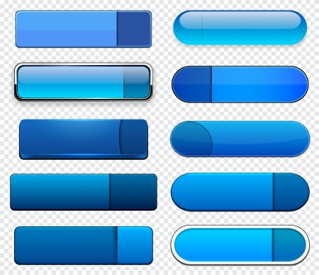 aqua icon: Set of blank blue buttons for website or app