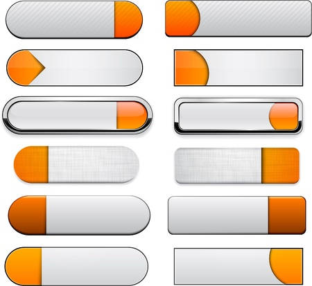 Set of blank orange and white buttons for website or app    Stock Vector - 15121966
