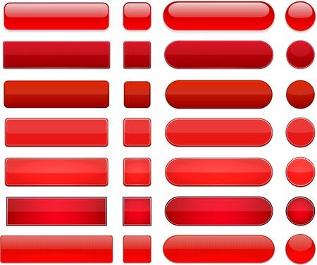 Set of blank red buttons for website or app.  Vector