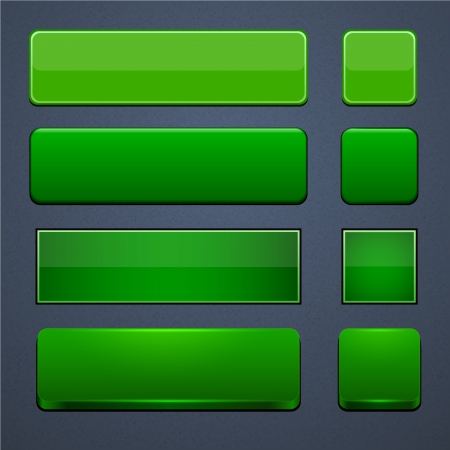 Set of blank green buttons for website or app.  Stock Vector - 15164996