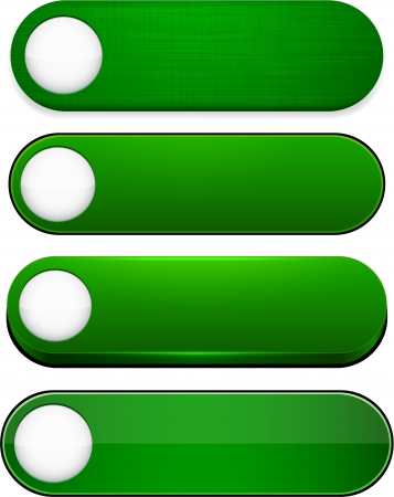 Set of blank green buttons for website or app.  Vector