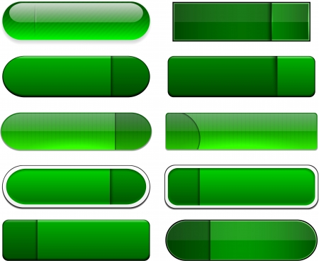 Set of blank green buttons for website or app. Stock Vector - 15164931
