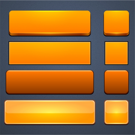 Set of blank orange buttons for website or app.  Vector