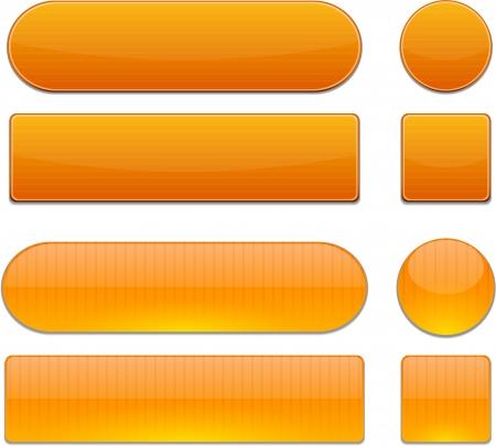 sign orange: Set of blank orange buttons for website or app.
