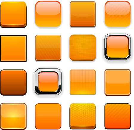 Set of blank orange buttons for website or app. Stock Vector - 15164937