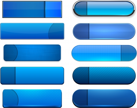 Set of blank blue buttons for website or app. Stock Vector - 15164958