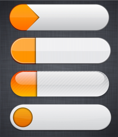 Set of blank orange and white buttons for website or app.  Vector