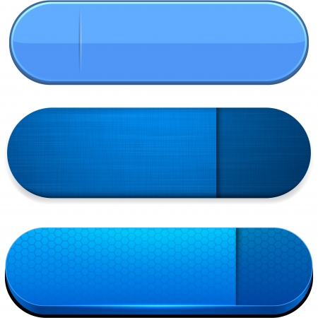 Set of blank blue buttons for website or app.  Vector