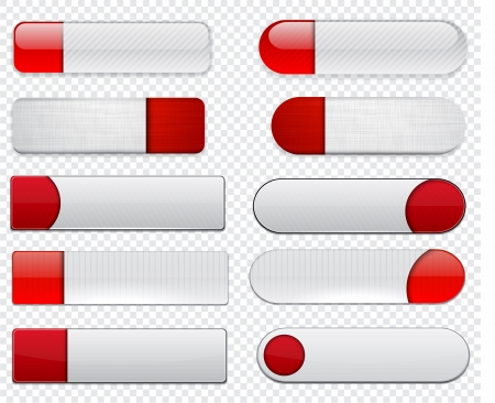 Set of blank white and red buttons for website or app   Vector
