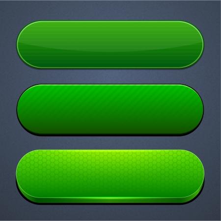buttons: Set di pulsanti verdi in bianco per il sito web o applicazione Vettoriali