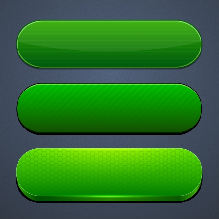 3d button: Set of blank green buttons for website or app