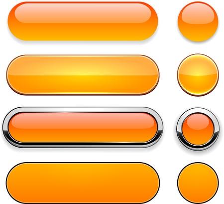 Set of blank orange buttons for website or app