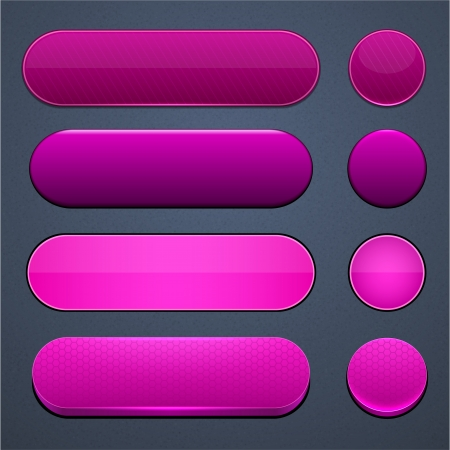 Set of blank magenta buttons for website or app  Vector