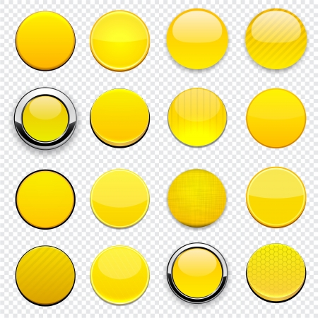 round logo: Set of round yellow buttons for website or app