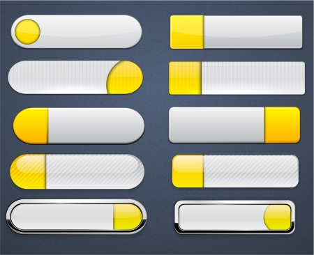 Set of blank yellow and white buttons for website or app Vector
