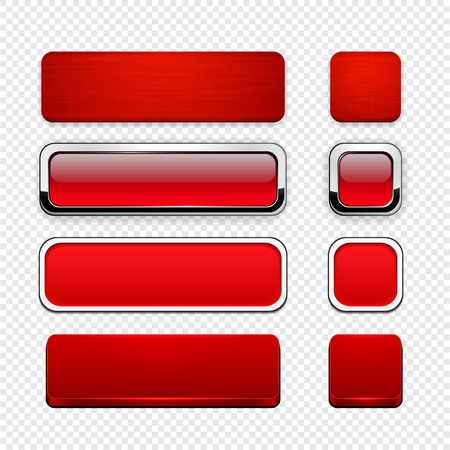 square buttons: Set of blank red buttons for website or app