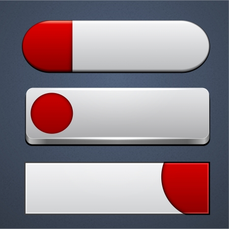 Set of blank white-red buttons for website or app   Vector