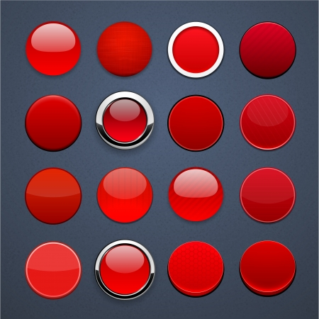 Set of blank red round buttons for website or app   Vector