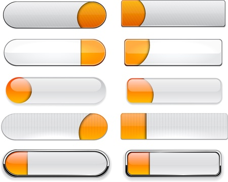 Set of blank orange and white buttons for website or app Vector