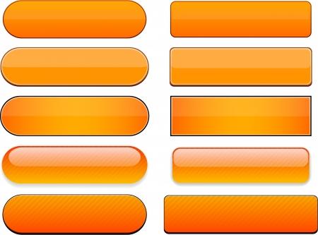 Conjunto de botones de color naranja en blanco para el sitio web o aplicación. Vector eps10.