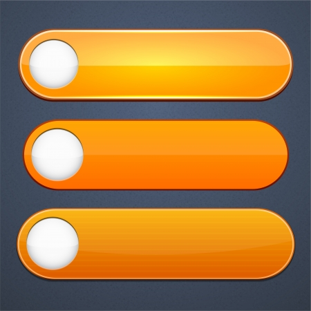buttons vector: Set of blank orange buttons for website or app. Vector eps10.