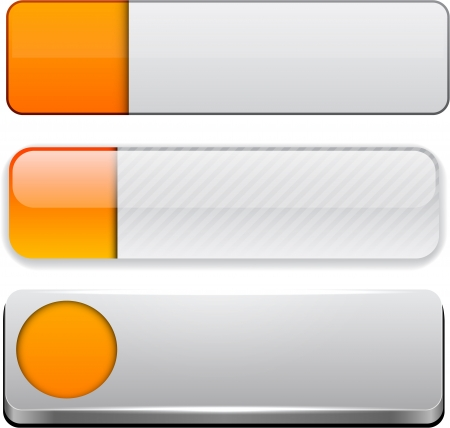 Set of blank orange and white buttons for website or app. Vector eps10.  Vector