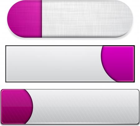 Ensemble de boutons magenta vierges pour site web ou une application. Vecteur eps10.