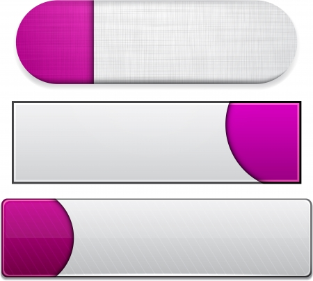 Set of blank magenta buttons for website or app. Vector eps10. Stock Vector - 15451850