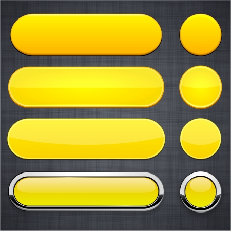 eps10: Set of blank yellow buttons for website or app. Vector eps10.