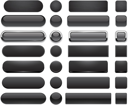 website buttons: Set of blank black buttons for website or app. Vector eps10.