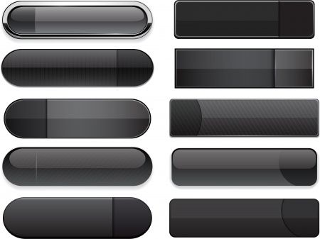 rounded squares: Set of blank black buttons for website or app. Vector eps10.   Illustration