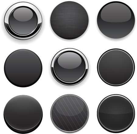 vector buttons: Set of blank black buttons for website or app. Vector eps10.