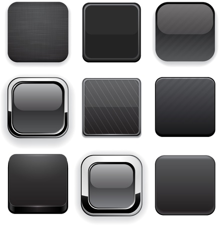 rounded squares: Set of blank black buttons for website or app  Vector eps10