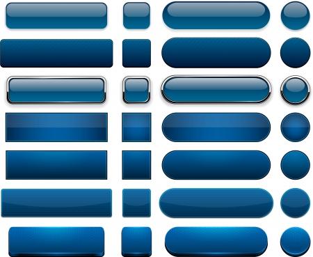 Conjunto de blanco de color azul oscuro botones para Vector sitio web o aplicación eps10