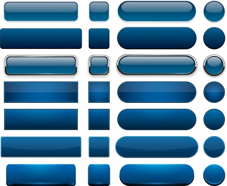 Set leere dunkelblaue Tasten für Website oder App Vector eps10