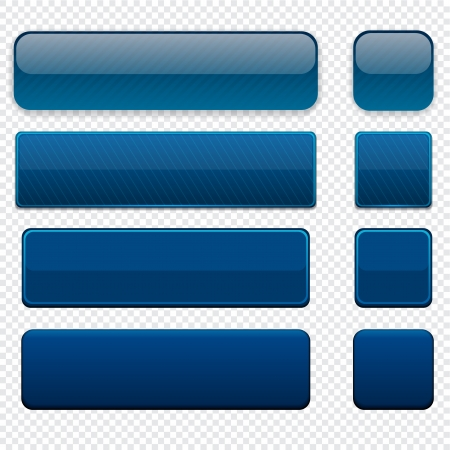 rounded squares: Set of blank dark-blue buttons for website or app  Vector eps10