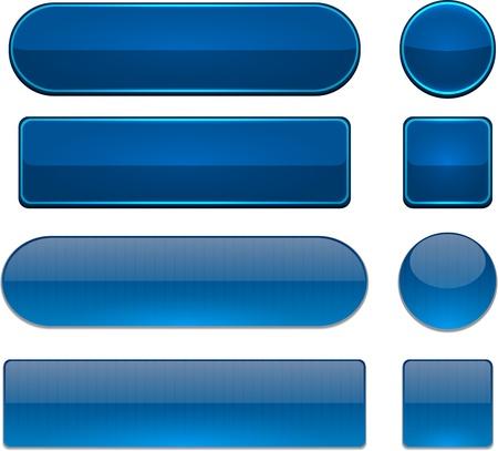 buttons: Set di bianco blu scuro pulsanti per sito web o un'applicazione Vector eps10 Vettoriali